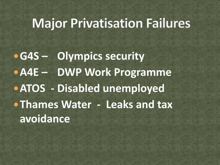 Major Privatisation Failures