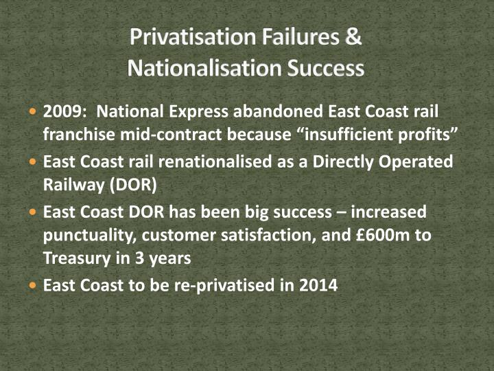 Privatisation Failures &