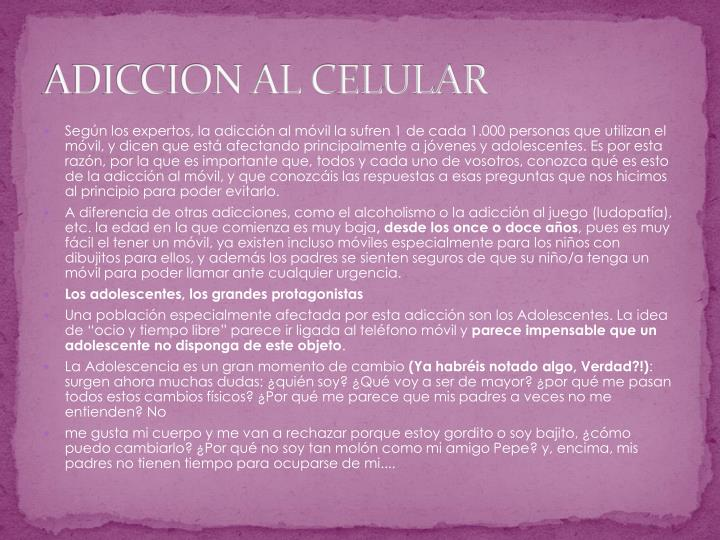 ADICCION AL CELULAR