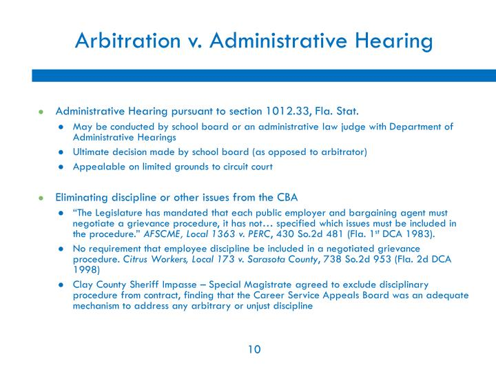 Arbitration v. Administrative Hearing