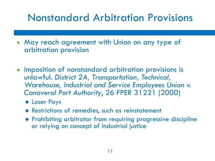Nonstandard Arbitration Provisions