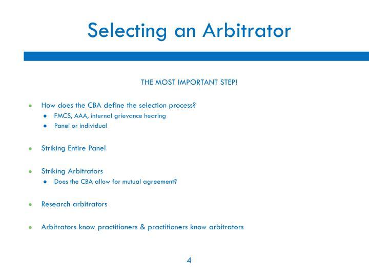 Selecting an Arbitrator