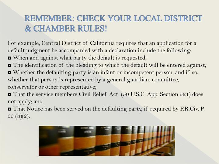 Remember check your local district chamber rules