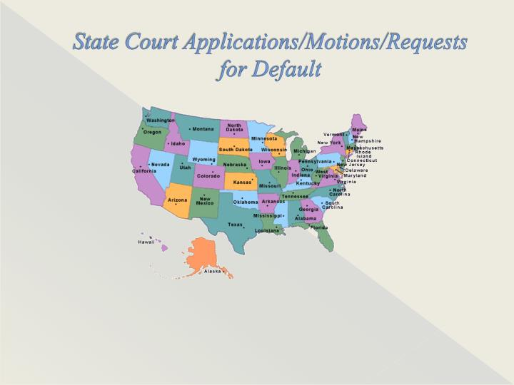 State Court Applications/Motions/Requests for Default