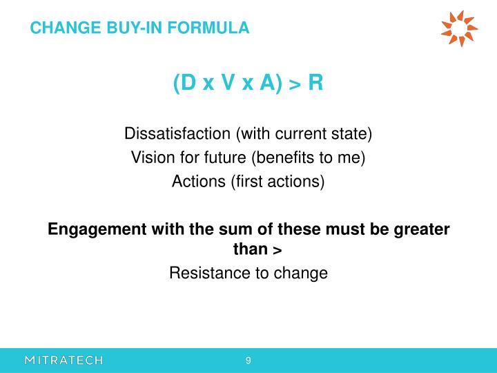 CHANGE BUY-IN FORMULA
