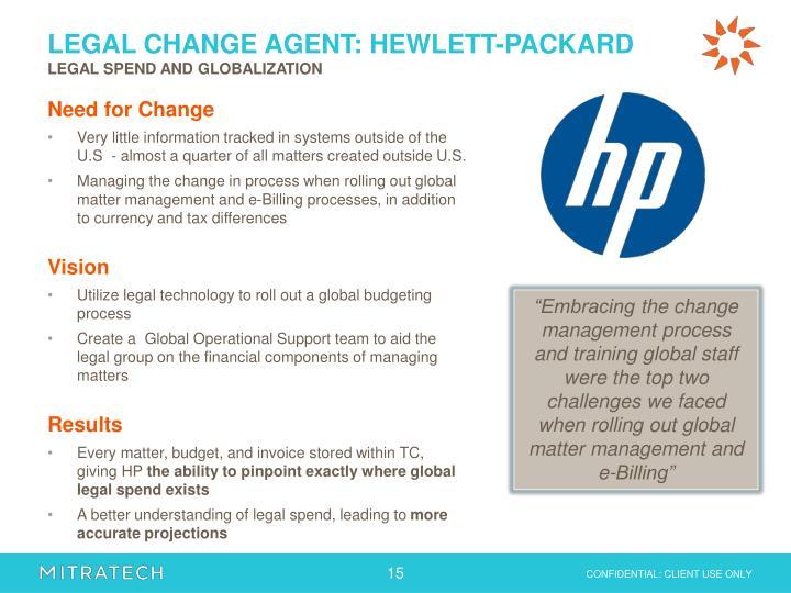 LEGAL CHANGE AGENT: HEWLETT-PACKARD