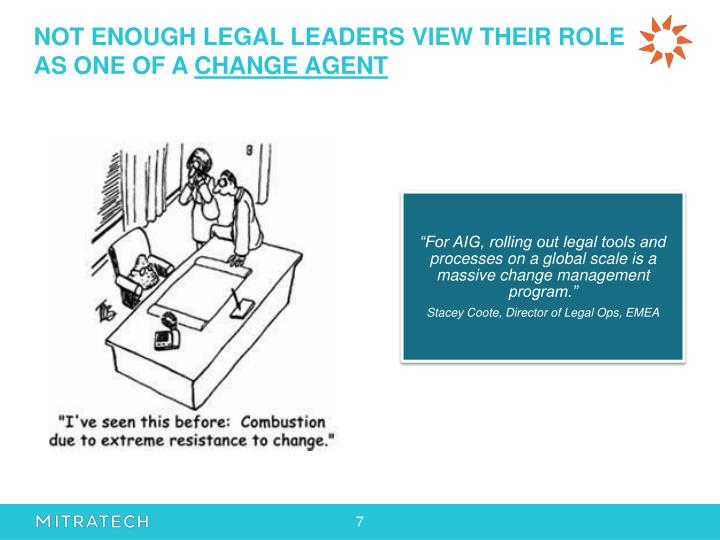 NOT ENOUGH LEGAL LEADERS VIEW THEIR ROLE AS ONE OF A