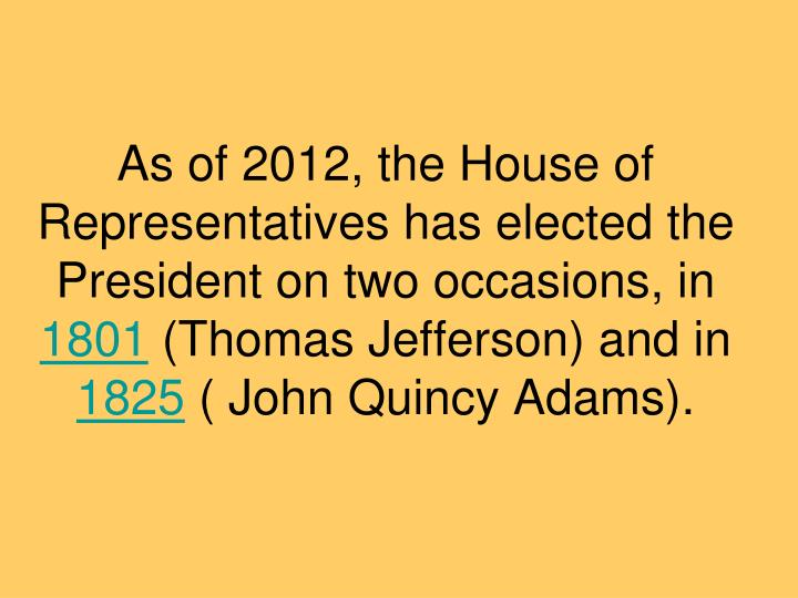 As of 2012, the House of Representatives has elected the President on two occasions, in