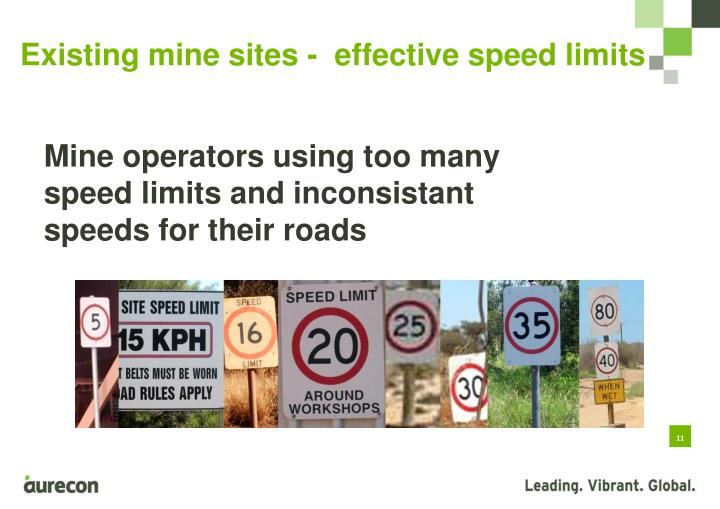 Existing mine sites -  effective speed limits