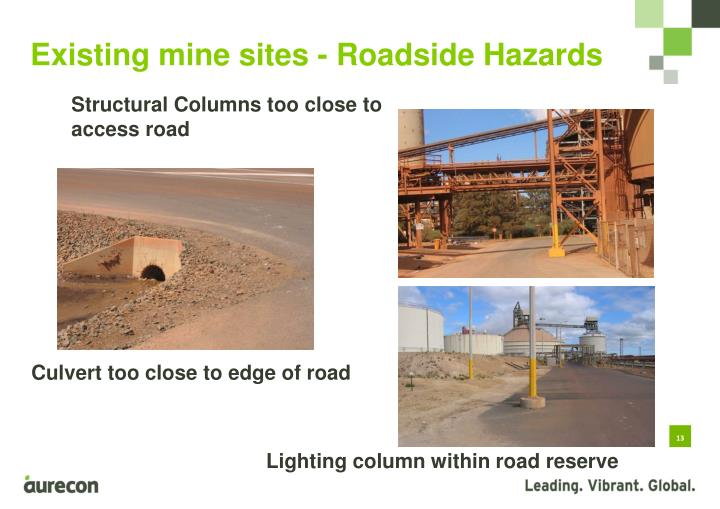 Existing mine sites - Roadside Hazards
