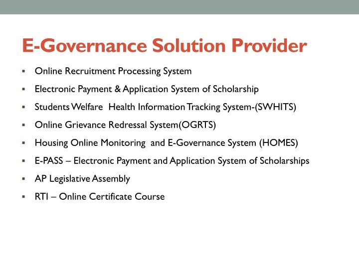 E-Governance Solution Provider
