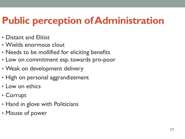 Public perception of Administration