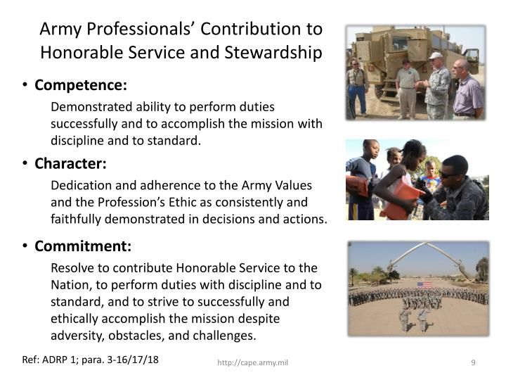 Army Professionals' Contribution to Honorable Service and Stewardship