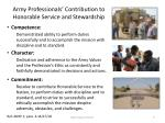 army professionals contribution to honorable service and stewardship