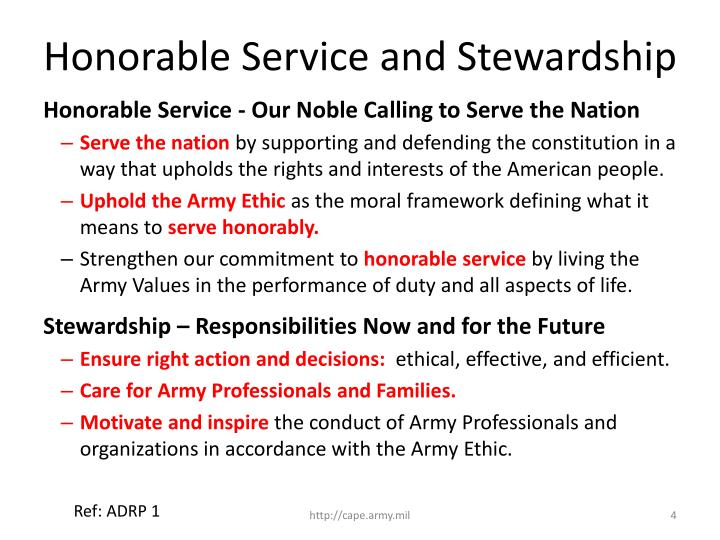 Honorable Service and Stewardship