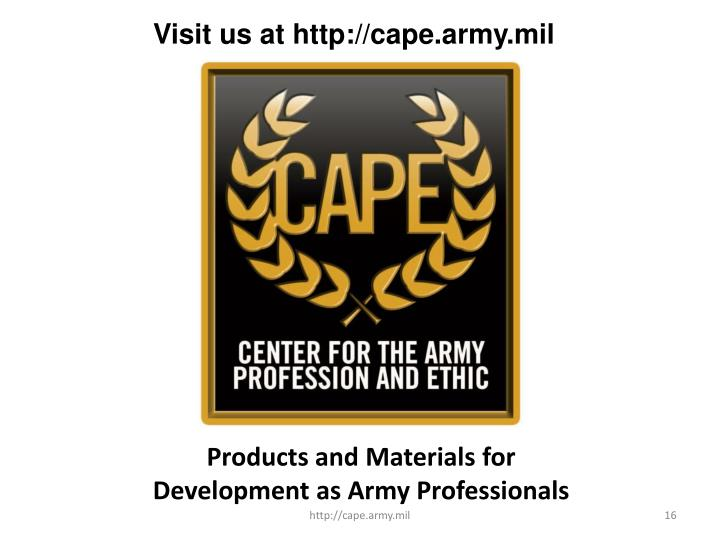 Visit us at http://cape.army.mil