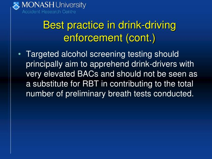 Best practice in drink-driving enforcement (cont.)