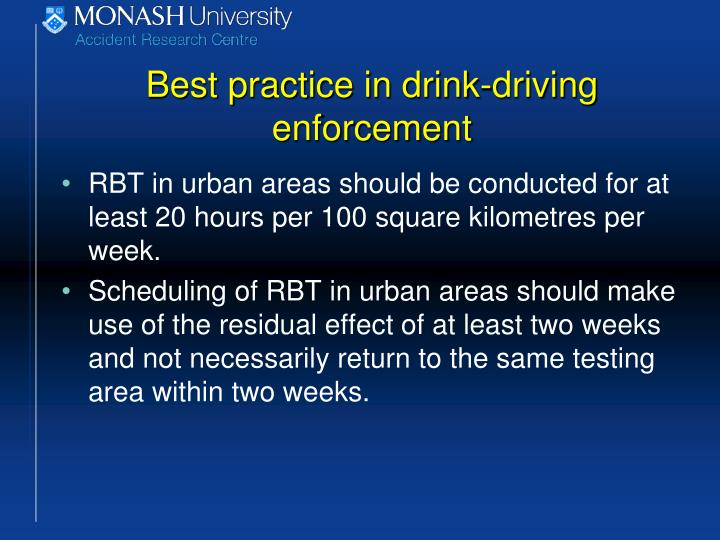 Best practice in drink-driving enforcement