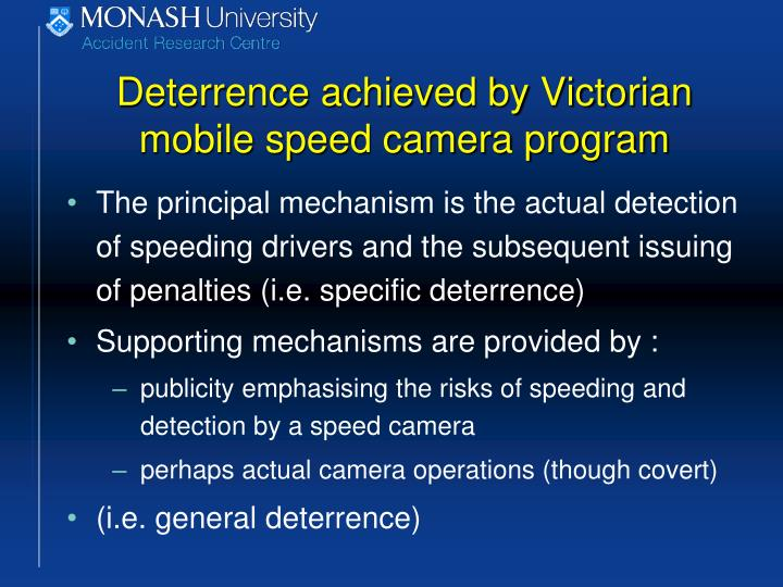 Deterrence achieved by Victorian mobile speed camera program