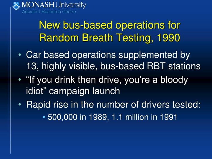 New bus-based operations for Random Breath Testing, 1990