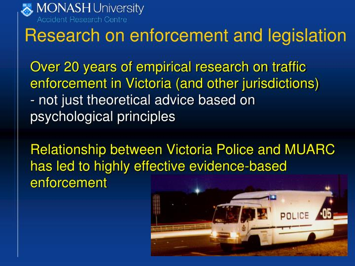 Research on enforcement and legislation