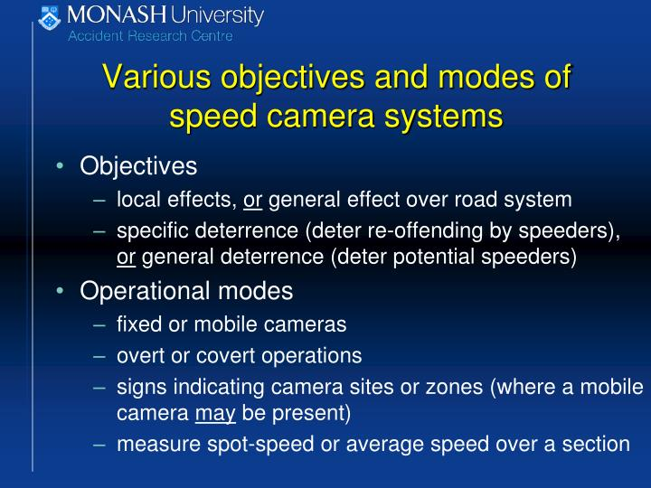 Various objectives and modes of speed camera systems