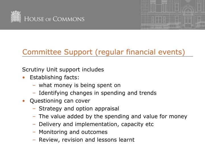 Committee Support (regular financial events)