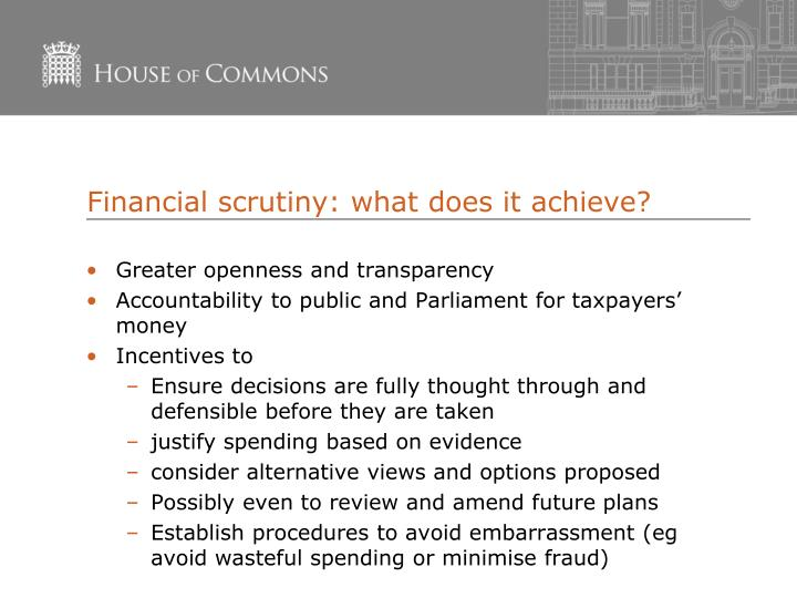 Financial scrutiny: what does it achieve?