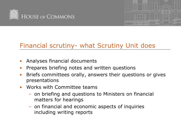 Financial scrutiny- what Scrutiny Unit does