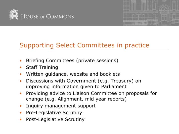 Supporting Select Committees in practice