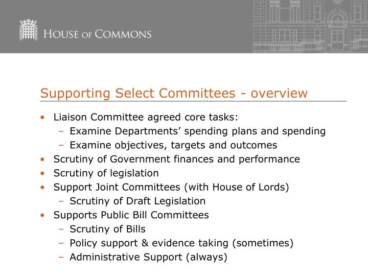 Supporting Select Committees - overview