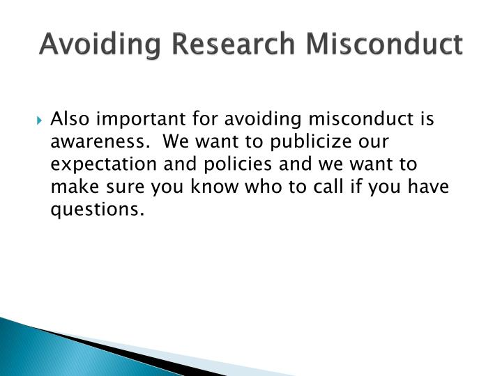 Avoiding Research Misconduct