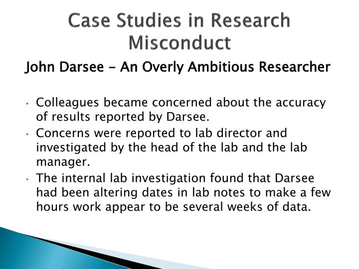 Case Studies in Research Misconduct