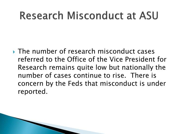 Research Misconduct at ASU