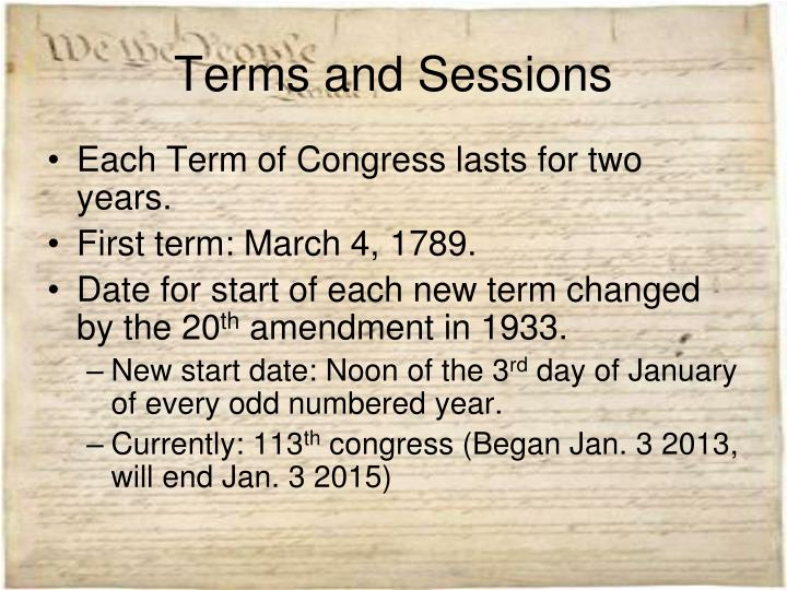 Term of congress and session of congress