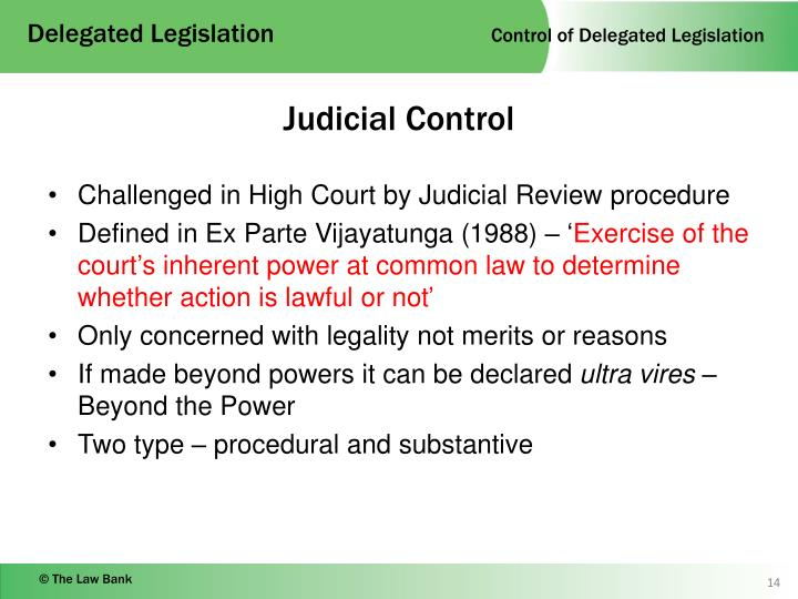 delegated legislation judicial review of Judical control over delegated legislation by grounds of judicial review of the law and rules problems relating to judicial control over delegated legislation.