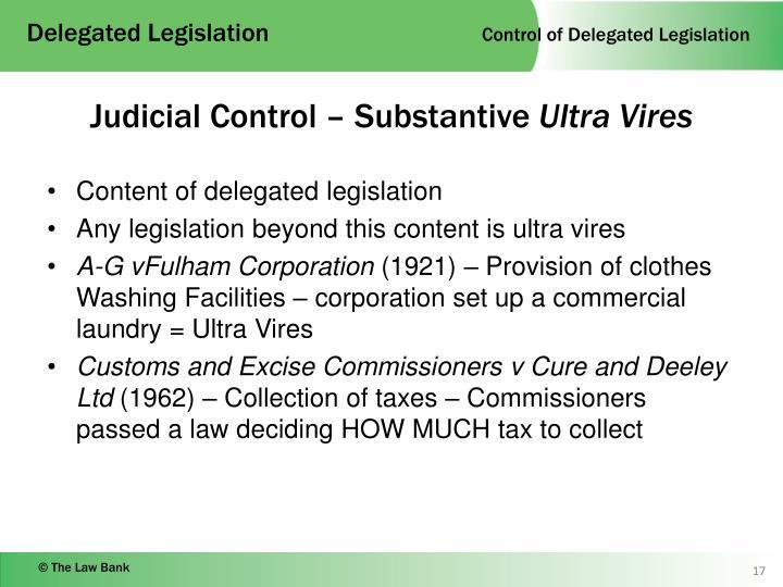 Control over delegated legislation