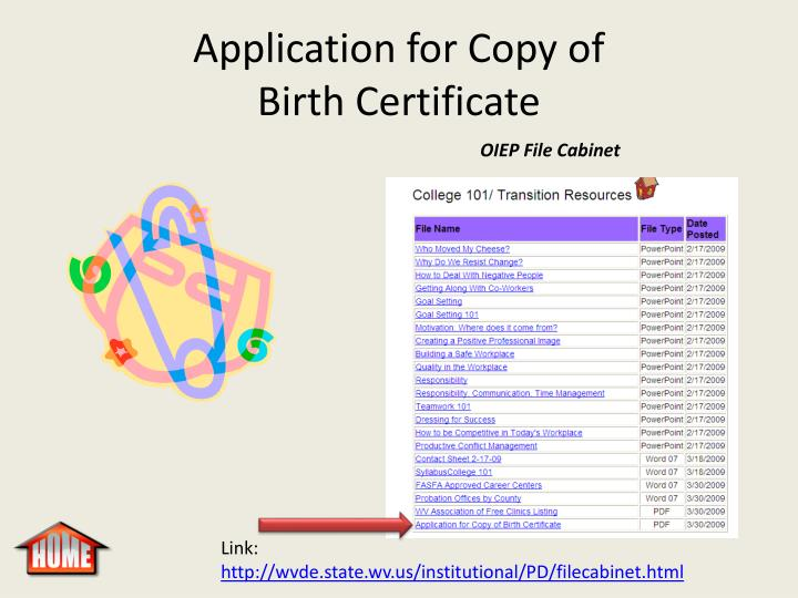 Application for Copy of