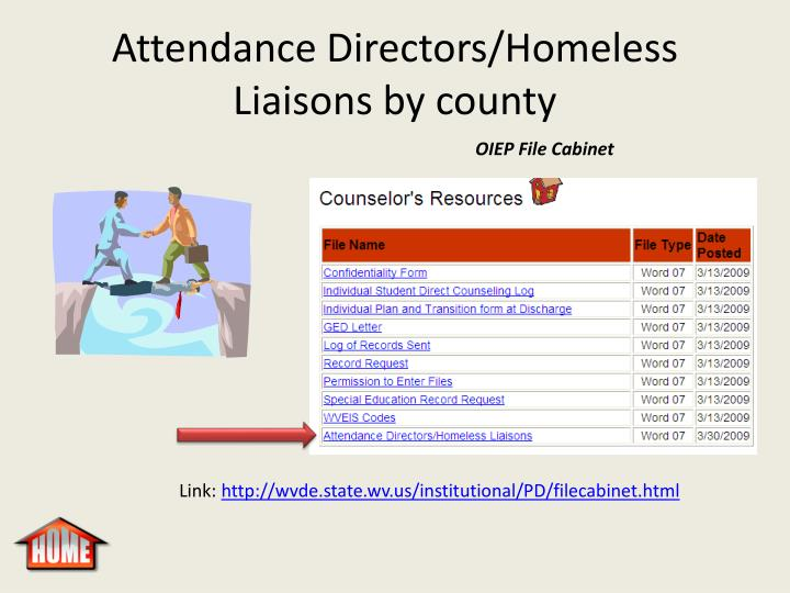 Attendance Directors/Homeless Liaisons by county