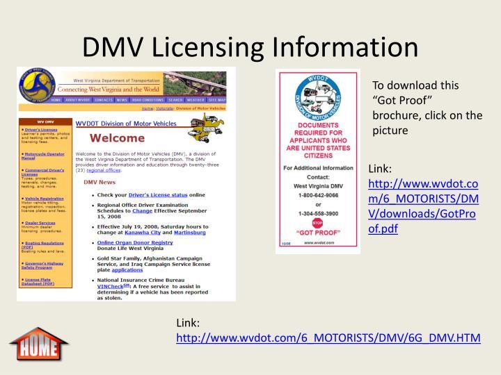 DMV Licensing Information