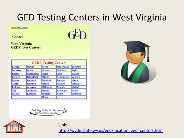 GED Testing Centers in West Virginia