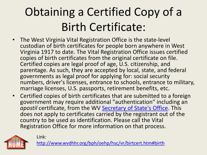 Obtaining a Certified Copy of a Birth Certificate: