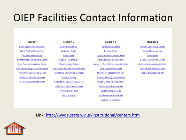 OIEP Facilities Contact Information