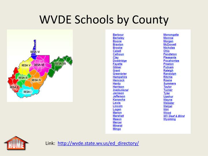 WVDE Schools by County