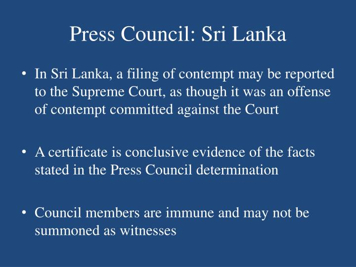 Press Council: Sri Lanka