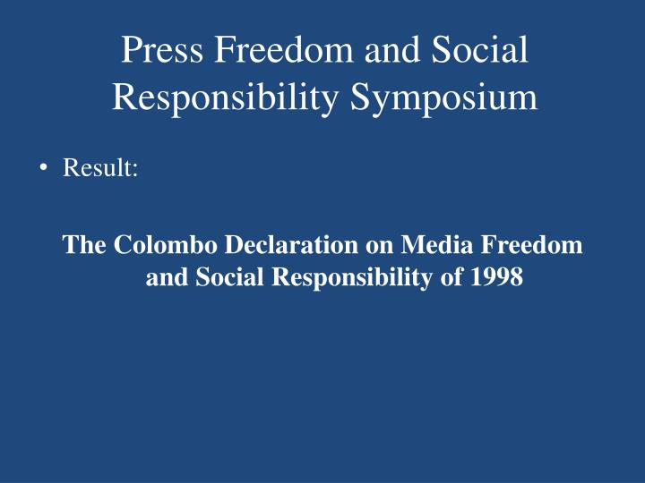 Press Freedom and Social Responsibility Symposium