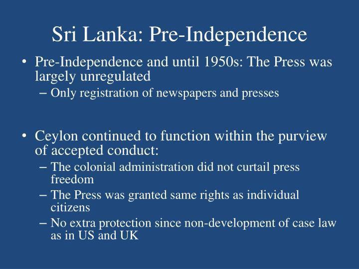 Sri Lanka: Pre-Independence