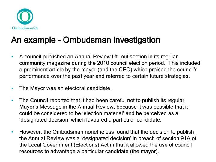 An example - Ombudsman investigation