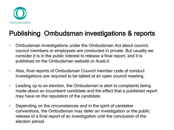Publishing  Ombudsman investigations & reports
