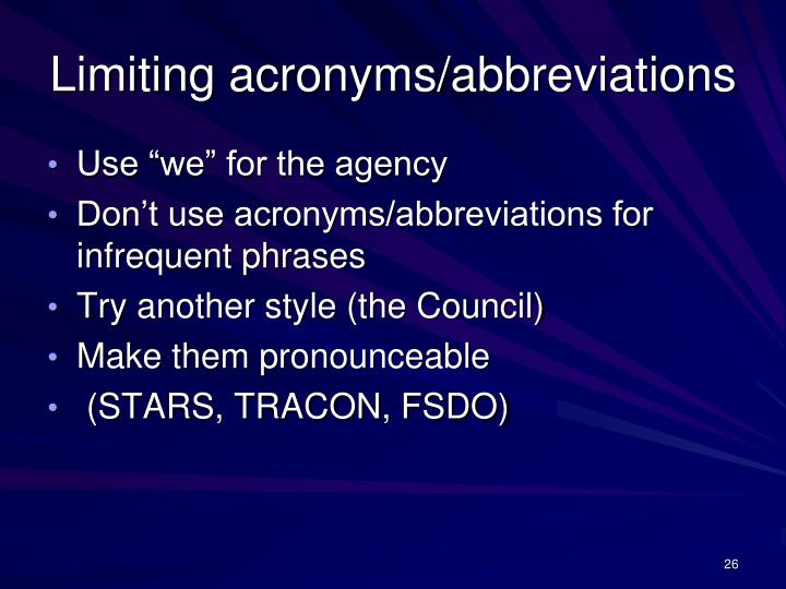 Limiting acronyms/abbreviations
